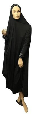 Long Prayer Dress MODEST CLOTHES OVERHEAD ONE PIECE GOWN BLACK SIMPLE VALUE NEW