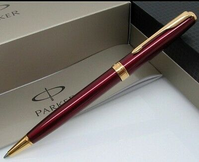 Parker Sonnet Red Ballpoint Pen With Gold Trim