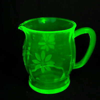 Green Uranium Depression Glass Water Jug With Etched Floral Pattern