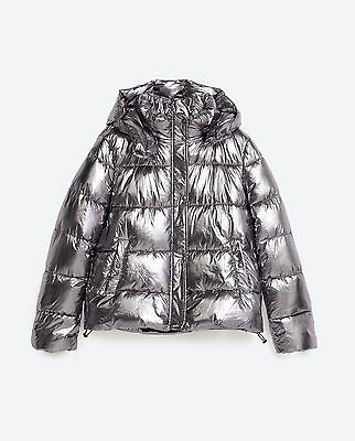 Zara New A/w2016 Metallic Silver Short Quilted Puffer Jacket Ref 3427/231 Size M