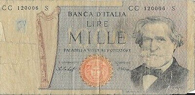 Italy 1000 1,000 lire old bank note 1977
