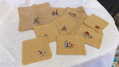 LOT 9 x VINTAGE ASIAN HANDMADE WOVEN RAFFIA CANE PLACEMATS & TABLE MATS ~ 6 NEW!