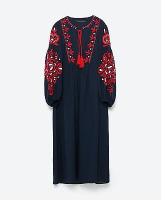 Zara New A/w 2016 Navy Floral Tasseled Embroidered Long Dress/ref 6895/253 New!