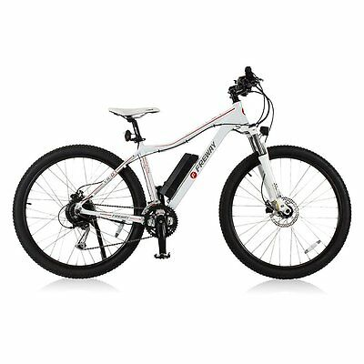 White Smart Electric Motor Mountain Bicycle 27 Speed Pedal-Assist Open Box Used