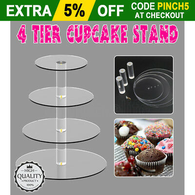 New 4 Tier Clear Acrylic Round Cupcake Cake Stand Wedding Birthday Party Display