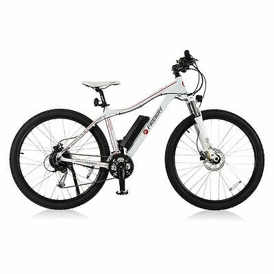 White Freway Smart Motor Mountain E-Bicycle 27 Speed Pedal-Assist Used Open Box