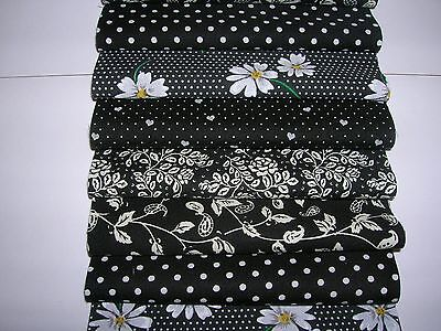 "40 x 5"" CHARM PACK BLACK & WHITE 100% COTTON PATCHWORK/QUILTING/CRAFTS BAW"