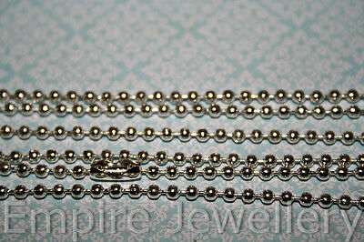 2 x Bright Silver Tone Ball Chain Necklaces 2.0mm Diam Approx 70cm Long