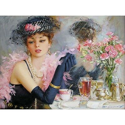 elegant Women painting kit DIY Acrylic Painting By Numbers paint on canvas craft