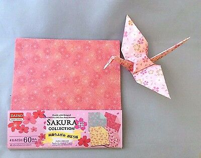 JAPANESE ORIGAMI CRAFT PAPER 60 Sheets Double-Sided 4 Patterns Sakura collection