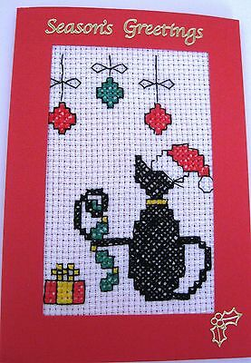 Christmas Card Completed Cross Stitch Cat & Baubles 6x4""