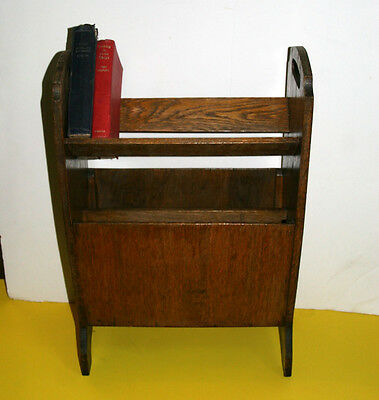Antique Edwardian Art Deco wood magazine rack bookcase book stand 15.5in long