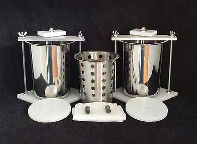 "2 Stainless Steel 4"" Spring Assisted  Cheese Presses & Free Soft Cheese Mold"