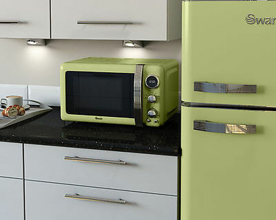 Swan Green Retro Microwave Oven 800w 20L Digital SM22030GN Brand New *FREE P&P*