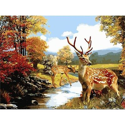 Full paint craft KIT Deers picture coloring by numbers DIY artist gift idea