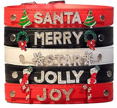Xmas Style Croc Personalised Pet Dog Cat Collar Christmas Name Bling Charms UK