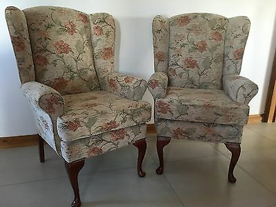 Pair Of Winged, High Back Armchairs