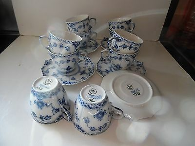 10 Royal Copenhagen Full Lace Espresso Cups & Saucers 1038