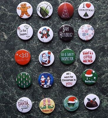 CHRISTMAS 20X BUTTON BADGES SET 2.  1inch/25mm MERRY XMAS PARTIES SANTA CUTE KID