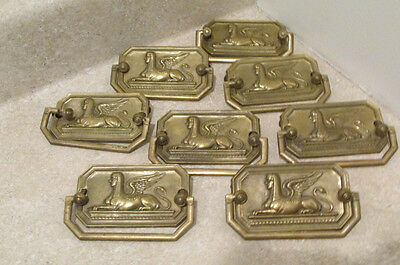S38 antique period 8 brass bail furniture pulls handles sphinx egyptian motif