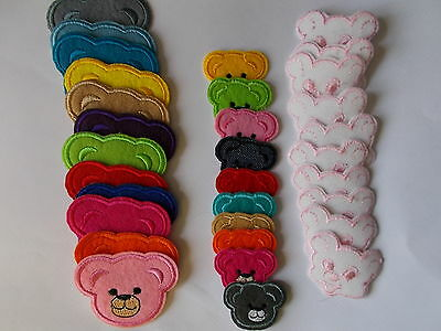 Embroidered Teddy Bear Faces Iron / Sew on Patch Applique