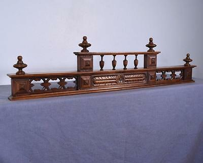 "*43"" French Antique Pediment Architectural Crown Walnut Wood Crest"