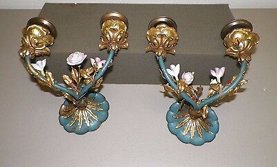 Vintage Pair Of Metal & Porcelain Flower Wall Sconce Candle Holders Blue Pink