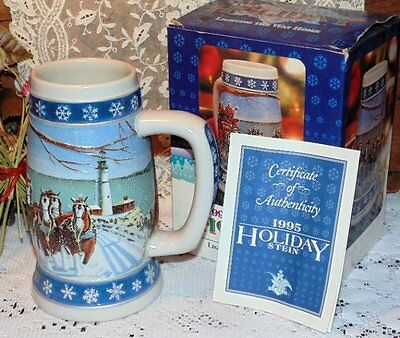 1995 Budweiser Collectible Holiday Stein Lighting The Way Home w/ Box