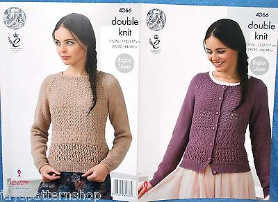Ladies Double Knit Lacy Sweater & Cardigan Knitting Pattern 28 - 46 Inch