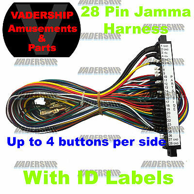 New: 28 Pin Jamma Harness Arcade Machines ~ With pin ID Lables on the Connector