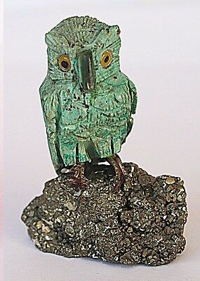 Carved turqoise stone OWL BIRD on Pyrite Crystal cluster