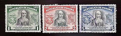 PANAMA 1952 Sc# 382-384 Queen Isabella I and Arms (A110) Used VLH NG Fair (C-136