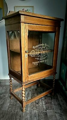 Antique Oak China Display Cabinet Stencil Glass Barley Twist Vintage Industrial