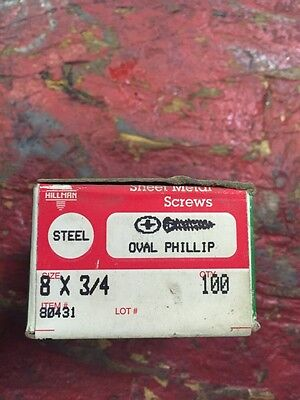 Vintage #8 X 3/4 Inch Oval Phillips Steel Sheet Metal Screws Box Of 100