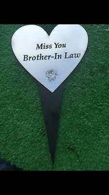 Engraved Heart Stake Grave Funeral Memorial, Miss You Brother-In-Law