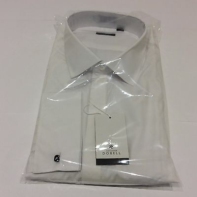 Mens White Tuxedo Dinner Wedding Formal Standard Plain Dress Shirt Size 19.5