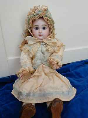 Antique French Depose tete Jumeau doll blue paperweight eyes blue stamp Jumeau