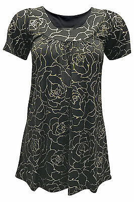 New Ladies Plus Size Top Womens Floral Glitter Sale Shirt Smock Tunic Nouvelle