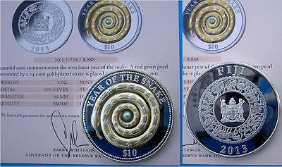 Fiji 10 $ 2013 Argento 999 Oz Proof With Real Perla Year Of Snake Serpente
