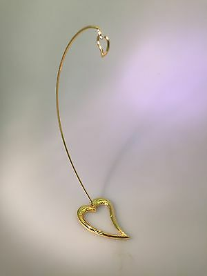 "ORNAMENT DISPLAY Heart Shaped  STAND HOOK 6"" TALL 24K Gold Plated"