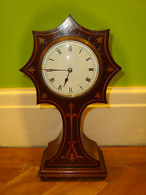 Art Nouveau Mahogany Star Shaped Inlaid Mantel Clock French 8 Day  Enamel Dial