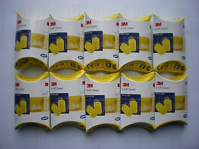 10 x PAIRS EAR PLUGS 3M - FREE POSTAGE IN IRELAND