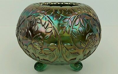 Carnival Glass Westmoreland Louisa Green Iridescent 3 Ball Footed Rose Bowl