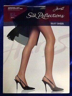 18d9b347431c9 Hanes Silk Reflections Silky Sheer Control Top Reinforced Toe Classic Navy  AB