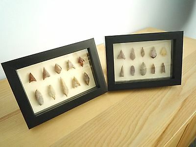 Neolithic Arrowheads in 3D Picture Frames x 2, Authentic Artifacts 4000BC (0166)