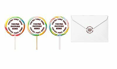 60 Lollipop Labels Stickers favors loot Personalized ANY DESIGN OR PICTURE