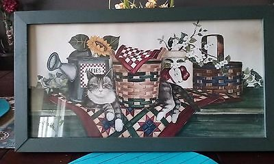 Vintage Green wood framed cat picture with glass