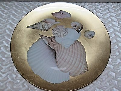 """Plate, Golden Color, Sea Shell Theme, 13 X 13"""""""