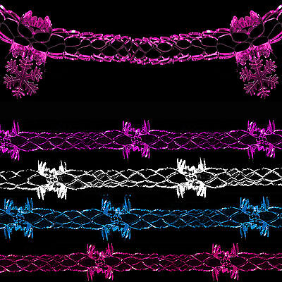 Christmas Foil Ceiling Decoration 2 x 14cm Garlands Pink, Red & Green or White