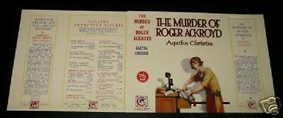 THE MURDER OF ROGER ACKROYD - 1932 - Agatha Christie - Facsimile Dustjacket Only